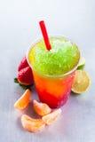 与新鲜水果成份的五颜六色的融雪饮料 库存图片