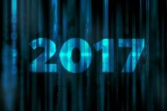 2017年与新年好概念的马赛克抽象数字式科幻矩阵背景 免版税库存照片
