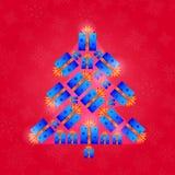与新年树的减速火箭的圣诞卡 免版税库存照片