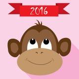 与新年红色丝带的猴子象 免版税库存照片