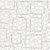 与方形的手拉的正方形可笑的条纹线冲程的灰色黑白色无缝的传染媒介样式画 库存例证