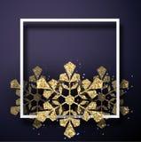 与方形的框架和金黄发光的s的圣诞节和新年卡片 皇族释放例证