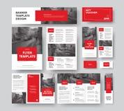 与方形的红色设计元素和冲程的公司样式,与 向量例证
