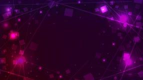 与方形的衣服饰物之小金属片和线的抽象紫色背景 向量例证
