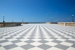 与方格的地板的典雅的大大阳台 免版税库存图片