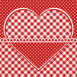 与方格的心脏的贺卡 免版税库存图片