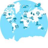 与旅行的世界地图速写了象 库存照片