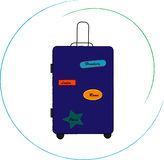 与旅行袋子的例证 免版税库存照片
