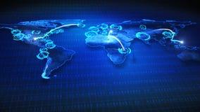与旅行路线的世界地图 库存例证