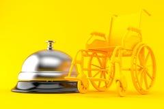 与旅馆响铃的轮椅背景 免版税库存照片