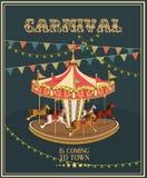 与旋转木马的狂欢节海报在葡萄酒样式 与马的转盘 免版税库存图片
