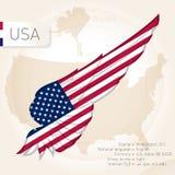与旗子、地图和信息的美国infographics 传染媒介illustra 免版税库存照片