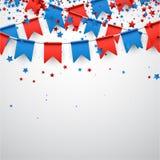 与旗子和星的白色背景 皇族释放例证