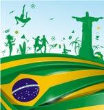 与旗子和标志的巴西背景 免版税库存图片