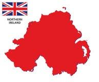 与旗子的北爱尔兰地图 免版税图库摄影