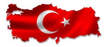 与旗子的土耳其地图 向量例证
