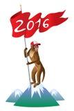 与旗子的圣诞节猴子 库存图片