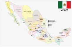 与旗子的墨西哥行政和政治传染媒介地图 免版税图库摄影