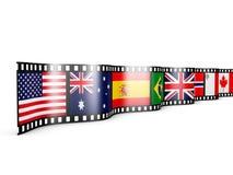 与旗子的影片 免版税库存图片
