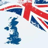 与旗子的英国或英国地图 免版税图库摄影