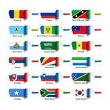 与旗子的路辗刷子 免版税库存照片