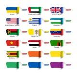 与旗子的路辗刷子 免版税库存图片