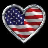 与旗子的镀铬物心脏在黑色 免版税库存照片