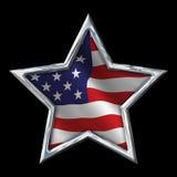 与旗子的镀铬物星在黑色 库存图片