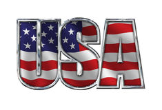 与旗子的镀铬物美国在白色 图库摄影