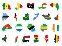 与旗子的非洲国家地图 向量例证