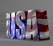 与旗子纹理的美国文本 库存照片