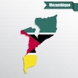 与旗子里面和丝带的莫桑比克地图 库存图片