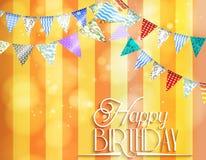 与旗布的橙色背景生日的庆祝的 库存例证