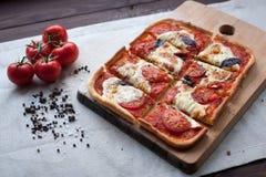 与无盐干酪、乳酪和蓬蒿叶子的土气意大利薄饼 免版税库存图片