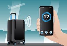 与无线控制的聪明的行李 库存图片