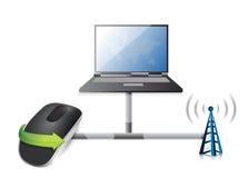 与无线计算机老鼠的膝上型计算机网络 库存例证