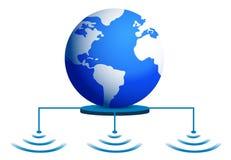 与无线连接的世界地球 库存例证