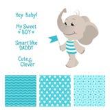 与无缝的样式的婴孩大象蓝色设计 免版税库存照片