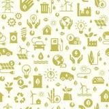 与无缝的生态样式和绿色能量概念的传染媒介设计在时髦平的样式 向量例证