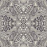 与无缝的禅宗乱画样式黑色的抽象背景在白色 免版税图库摄影