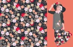 与无缝的花卉图案的传染媒介卡片与玫瑰和迷人的跳舞的法国女人 皇族释放例证