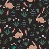 与无缝的花卉题材背景幼稚绘画风格的兔子样式孩子和婴孩纺织品印刷品的 库存例证