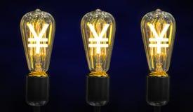 与日元标志的电灯泡 免版税库存照片