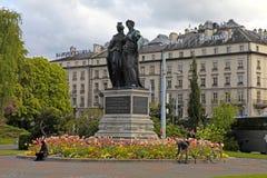 与日内瓦和海尔维第,日内瓦,瑞士的国家历史文物 免版税图库摄影