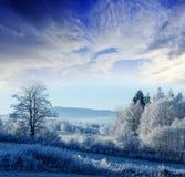 与日出的一个冬天早晨 免版税库存照片