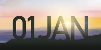 与日出的剪影1月 免版税库存图片