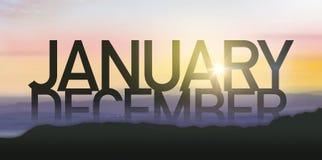 与日出的剪影1月 图库摄影