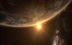 与日出的地球从空间 免版税图库摄影