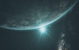 与日出的地球从空间 库存图片