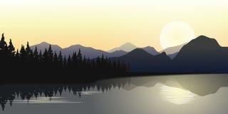 与日出的河和山行在天际,传染媒介例证 库存图片